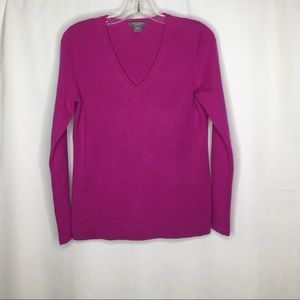 Ann Taylor Pink Cashmere V Neck Sweater